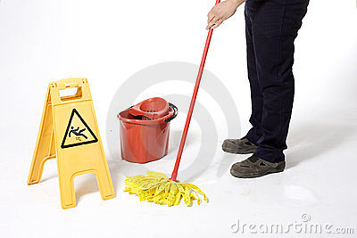 Mopping white floor