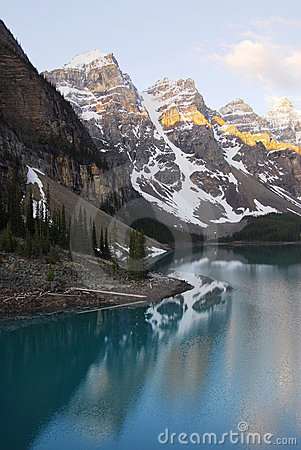 Moraine lake and mountains