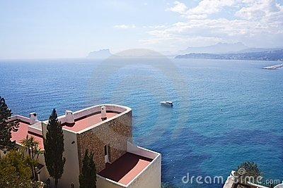 Moraira architecture and mediterranean sea