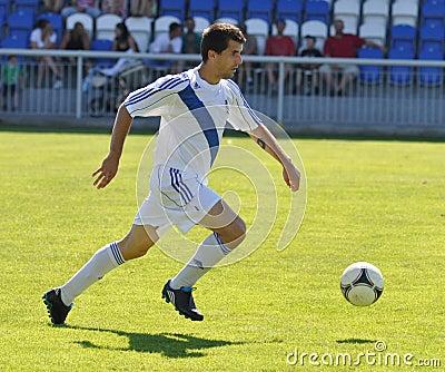 Moravian-Silesian League, footballer M. Schustrik Editorial Photo