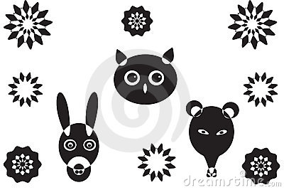 More animal heads and flower s