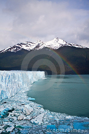 Moreno Glacier Rainbow with water