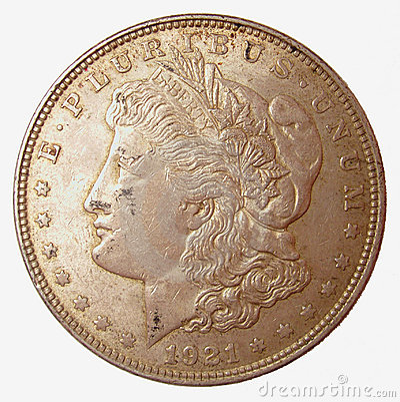 Morgan Silver Dollar Stock Photo