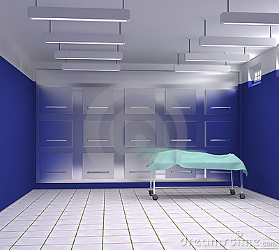 Morgue with blue and white walls