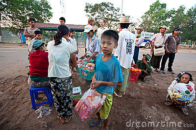Morning activities at the Yangon bus station Editorial Image