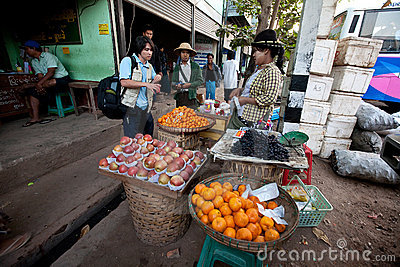 Morning activities at the Yangon bus station Editorial Photography