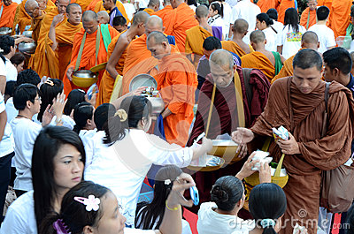 Morning alms-offering to 12600 Buddhist monks Editorial Photo