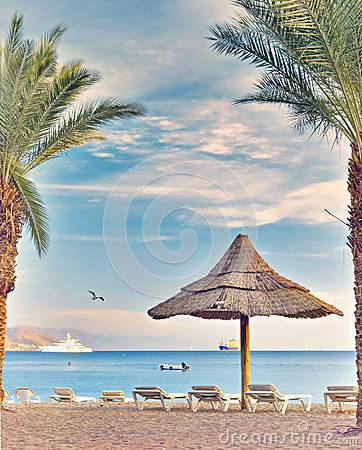 Free Morning At Central Public Beach In Eilat Royalty Free Stock Image - 89113396