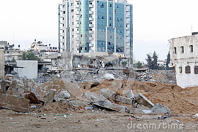 Morning bombing attack on gaza Editorial Photography