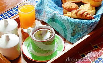 Morning breakfast or brunch with bread & coffee
