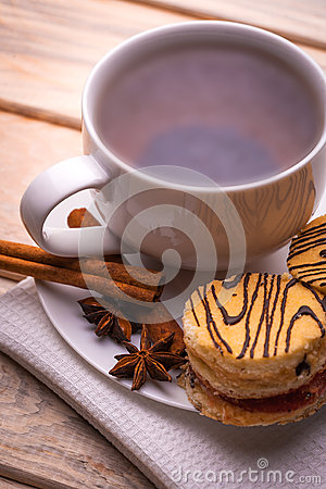 Free Morning Breakfast. Tea And Fresh Pastries Stock Photo - 38074000