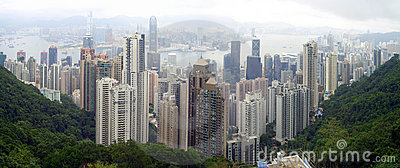 Morning City Skyline Hong Kong Editorial Stock Image