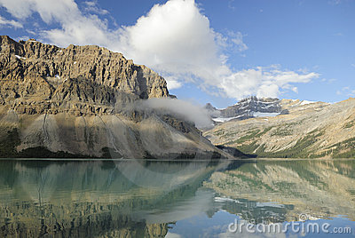 Morning clouds at Bow Lake in Canadian Rockies