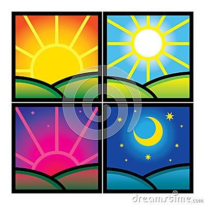 Morning Day Evening Night Stock Photography - Image: 28137682