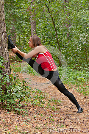 Morning exercises in park