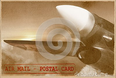 Vintage plane. Retro air mail card.