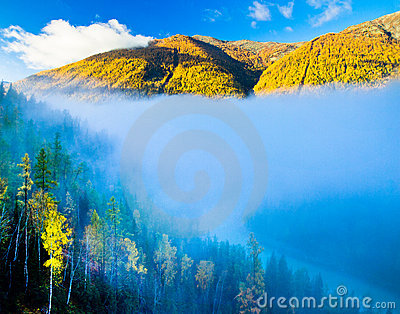 Morning fog over Moon Bay, Kanas, Xinjiang China