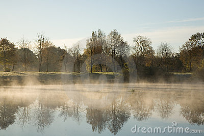 Morning fog over water