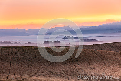Morning fog view on farmland in Tuscany, Italy
