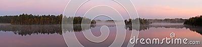 Morning fog on wood lake