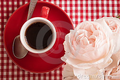 Morning fragrance: coffee and flowers, detail