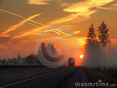 Morning,highway,fog