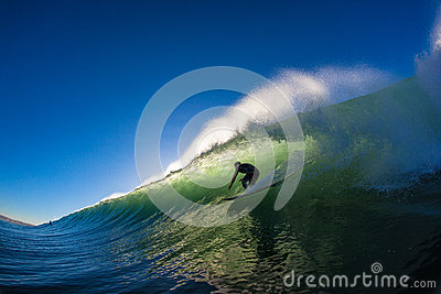 Morning Hollow Wave Surf Rider Editorial Photo