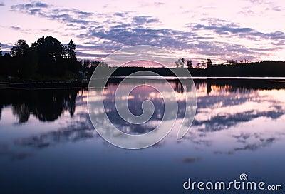 Morning lake clouds landscape