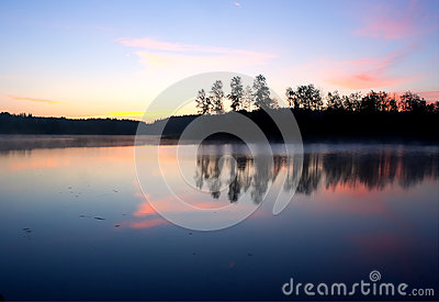 Morning lake landscape