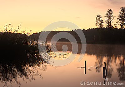 Lake Seliger: morning reflections silhouettes