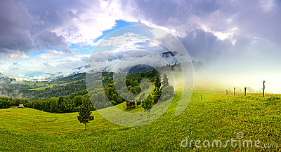 Morning landscape in the mountains. Carpathian