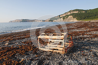 Lobster Trap on Gaspe Shoreline