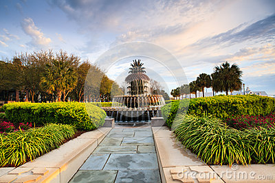 Morning Light on Pineapple Fountain Charleston SC
