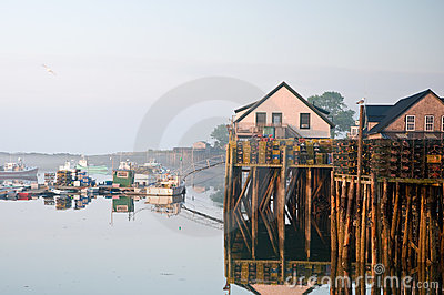 Morning at Maine fishing wharf