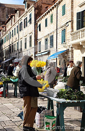 Daily, morning market in Dubrovnik, Croatia Editorial Stock Image