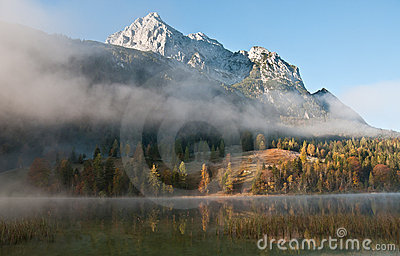 Morning mist in bavarian alps