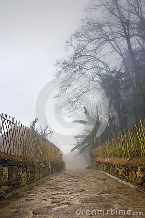 Free Morning Mist In The Mountain Village Stock Image - 103508851