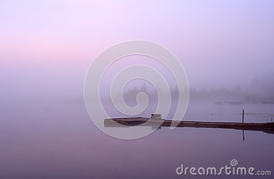 Lake Seliger: morning mist moorage