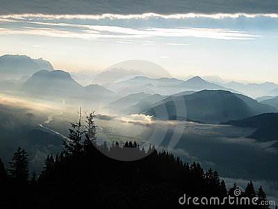 Morning Mist over the Alps