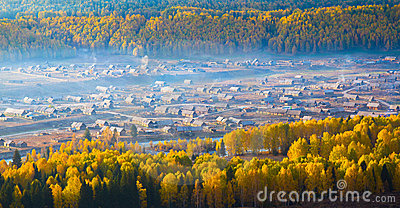 Morning mist over Hemu Village, Xinjiang China