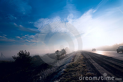 Morning mist on the road