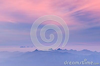 Morning Mist at Tropical Mountain Range at sunrise