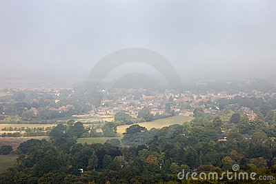 Morning mists over an English town