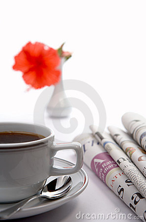 Morning with newspapers