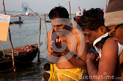 Morning pray by hindu men Editorial Image