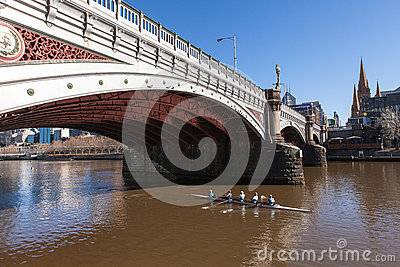 Morning Rowers on Yarra River, Melbourne Australia Editorial Image