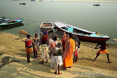 Morning scene at the Ganges river Editorial Image