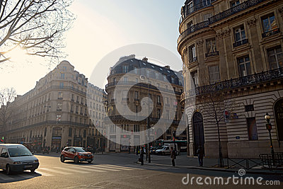 Morning scene in Paris Editorial Stock Image
