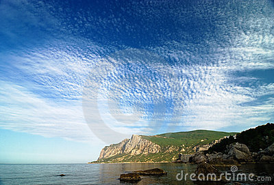 Morning in a sea bay with amazing sky and clouds
