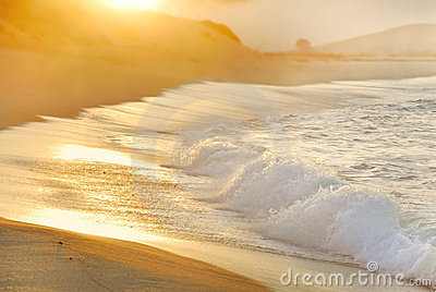 Morning sun and fog over ocean surf